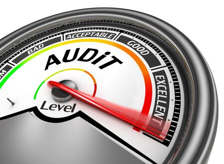 auditing: Audit level to maximum conceptual meter, isolated on white background