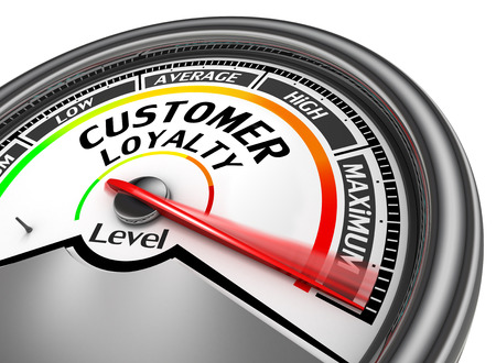 brands: Customer loyalty level conceptual meter to maximum, isolated on white background