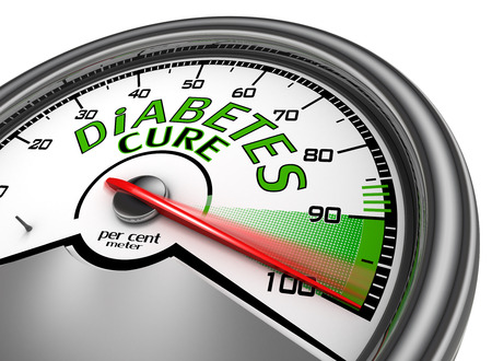 indicate: Diabetes cure conceptual meter indicate maximum, isolated on white background