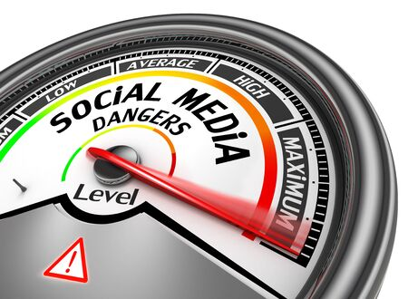 rating gauge: Social media dangers level to maximum modern conceptual meter, isolated on white background Stock Photo