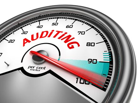auditing: Auditing level hundred per cent conceptual meter, isolated on white background
