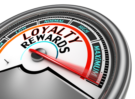 Loyalty rewards conceptual meter indicate maximum, isolated on white background