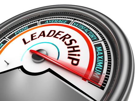 maximum: Leadership conceptual meter indicate maximum, isolated on white background Stock Photo