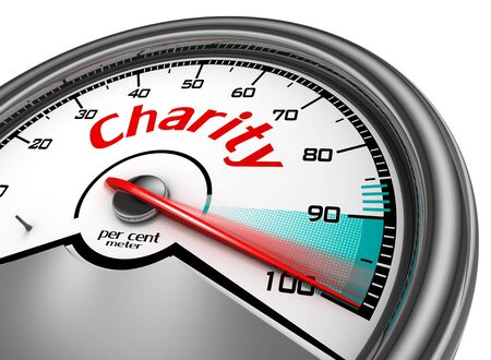 volunteering: Charity conceptual meter indicate hundred per cent, isolated on white background Stock Photo