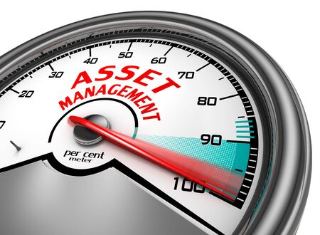 manage: asset management to hundred per cent conceptual meter, isolated on white background Stock Photo