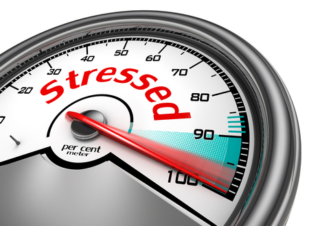 per cent: Stressed hundred per cent conceptual meter, isolated on white background Stock Photo