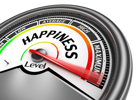levels: Happiness level conceptual meter indicate maximum, isolated on white background