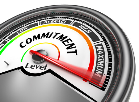 commitment: commitment level to maximum conceptual meter, isolated on white background Stock Photo