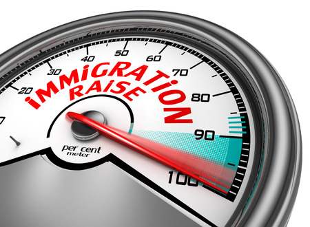 immigrate: Immigration raise to hundred per cent conceptual meter, isolated on white background Stock Photo