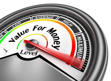 gain money: Rapport qualité-prix mètre conceptuelle au maximum, isolé sur fond blanc