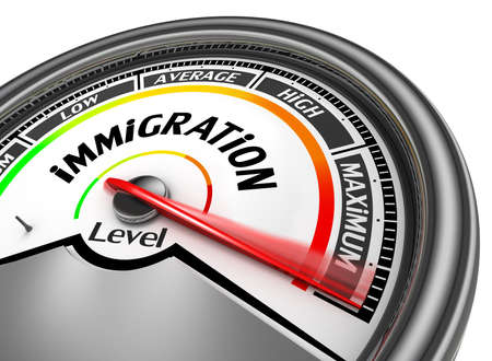 immigrate: Immigration level to maximum conceptual meter, isolated on white background