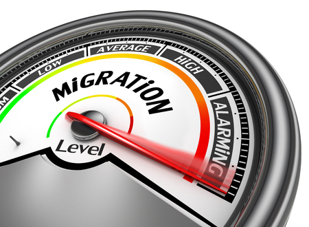 immigrate: Alarming Migration level concept with meter, isolated on white background