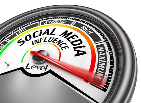 influence: Social media influence level to maximum modern conceptual meter, isolated on white background