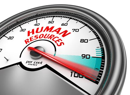 hr: Human resources to hundred per cent conceptual meter, isolated on white background