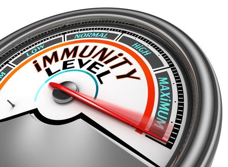 immunity: immunity conceptual meter indicate maximum, isolated on white background