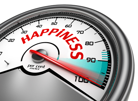 indicate: Happiness conceptual meter indicate hundred per cent, isolated on white background