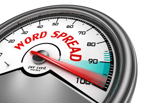 spread the word: word spread to hundred per cent conceptual meter, isolated on white background Stock Photo