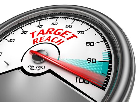 per cent: Target reach to hundred per cent conceptual meter, isolated on white background Stock Photo
