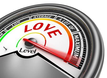 maximum: Love level conceptual meter indicate maximum, isolated on white background