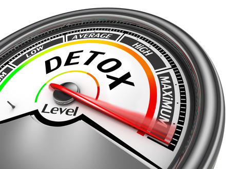 toxins: Detox level conceptual meter indicate maximum, isolated on white background Stock Photo