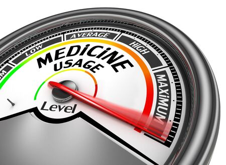 physique: Medicine use level to maximum conceptual meter, isolated on white background Stock Photo