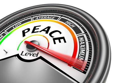 spirit level: Peace level conceptual meter indicate maximum, isolated on white background