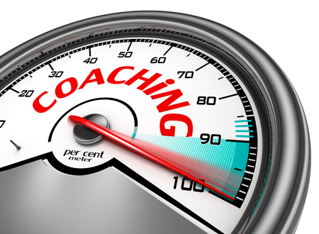 per cent: Coaching level conceptual meter indicate hundred per cent maximum, isolated on white background Stock Photo