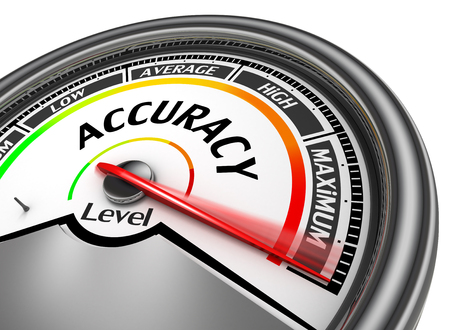 low: Accuracy level conceptual meter indicate maximum, isolated on white background