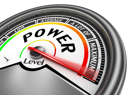 powerful creativity: Power level conceptual meter indicate maximum, isolated on white background