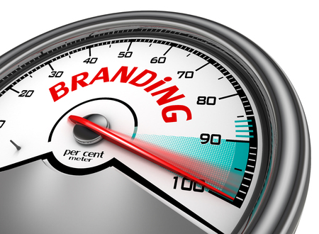 per cent: Branding level conceptual meter indicate hundred per cent maximum, isolated on white background