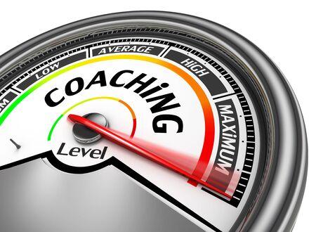 Coaching level conceptual meter indicate maximum, isolated on white background
