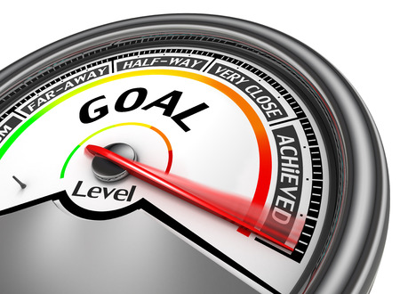 achieved: Goal achieved modern conceptual meter, isolated on white background Stock Photo