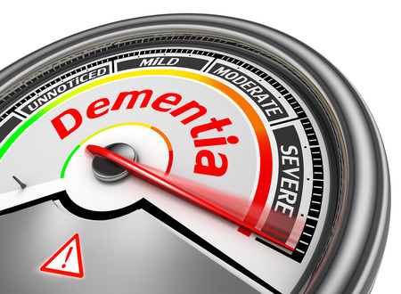 brain aging: Dementia level conceptual meter indicate alarm, isolated on white background