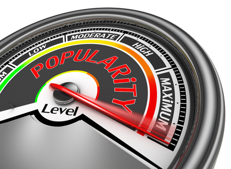 popularity: Popularity level conceptual meter indicate maximum, isolated on white background