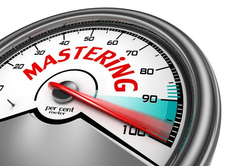 master degree: Mastering to hundred per cent conceptual meter, isolated on white background Stock Photo