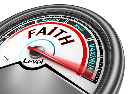 Faith level conceptual meter indicate maximum, isolated on white background 스톡 콘텐츠