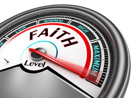 Faith level conceptual meter indicate maximum, isolated on white background Stockfoto