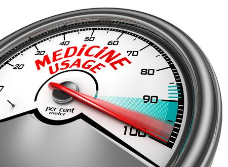 physique: Medicine usage to hundred per cent conceptual meter, isolated on white background