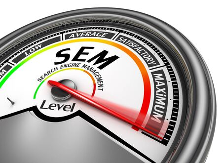 sem: Sem level conceptual meter indicate maximum, isolated on white background Stock Photo