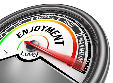 enjoyment: Enjoyment level to maximum conceptual meter, isolated on white background Stock Photo