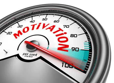 per cent: Motivation conceptual meter indicate hundred per cent, isolated on white background