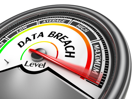 Data breach level to maximum modern conceptual meter, isolated on white background