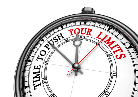limits: Time to push your limits concept clock, isolated on white background Stock Photo