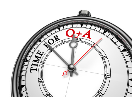 Questions and answers  motivation message on concept clock, isolated on white background Archivio Fotografico