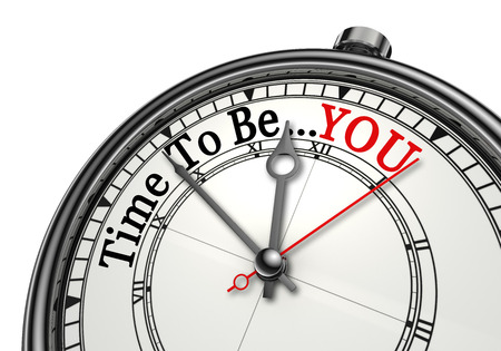 Time to be yourself red word on concept clock, isolated on white background Stockfoto