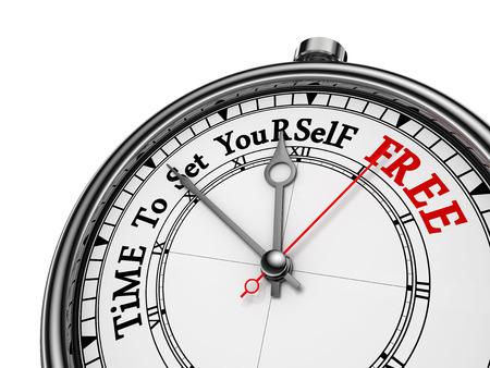 Tijd om jezelf te bevrijden motiverende begrip klok, op een witte achtergrond Stockfoto
