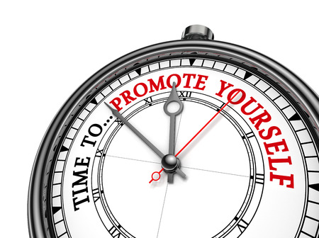yourself: Time to promote yourself motivation on concept clock, isolated on white background Stock Photo