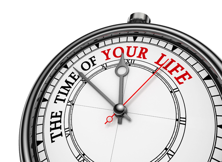 life metaphor: Time of your life metaphor words on concept clock, isolated on white background Stock Photo