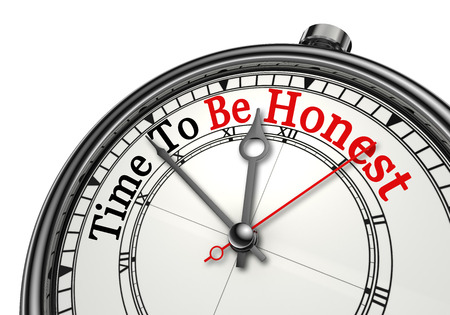 honest: Time to be honest red word on concept clock, isolated on white background Stock Photo