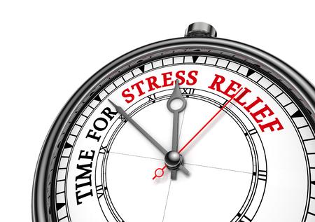 Tijd voor stress motivatie klok, op een witte achtergrond Stockfoto